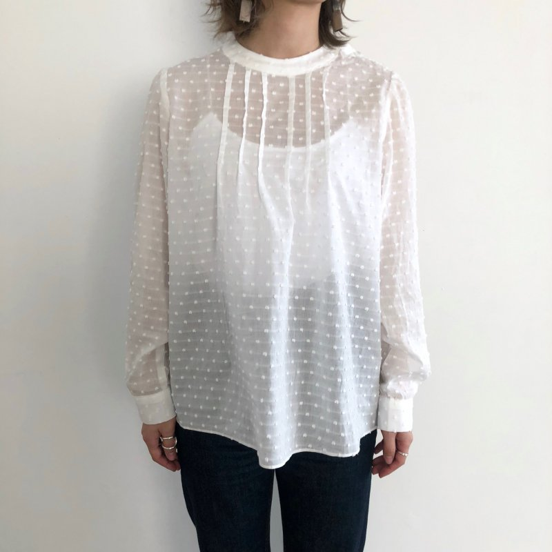 cut Jacquard dot blouse