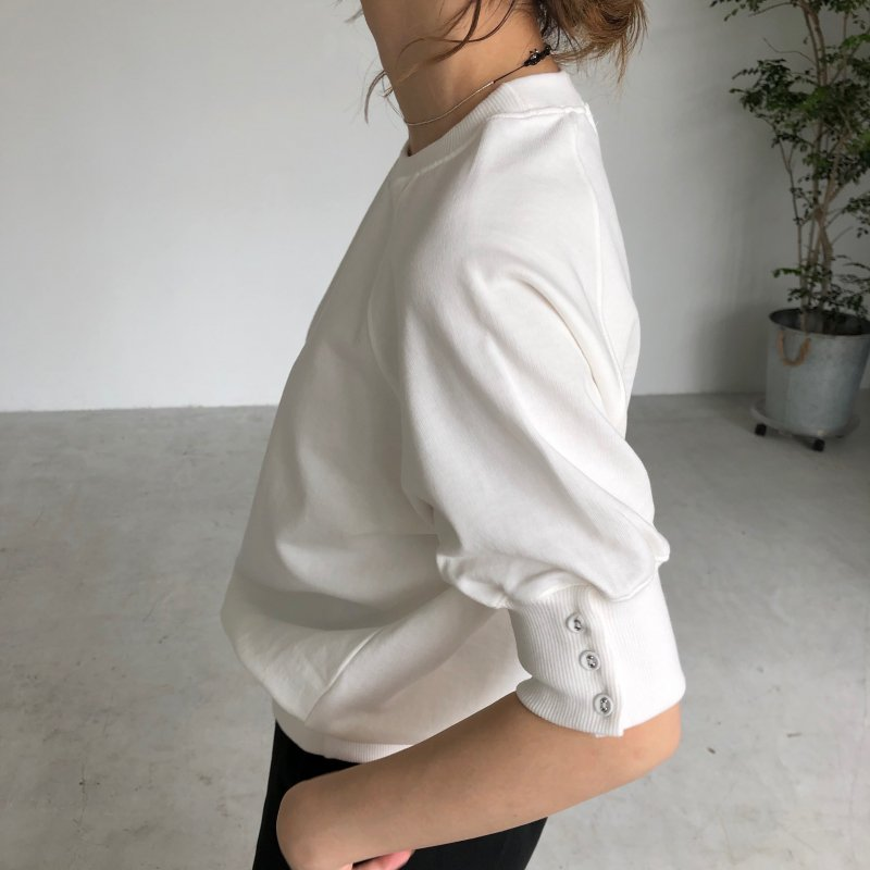 sleeve button puff sweat