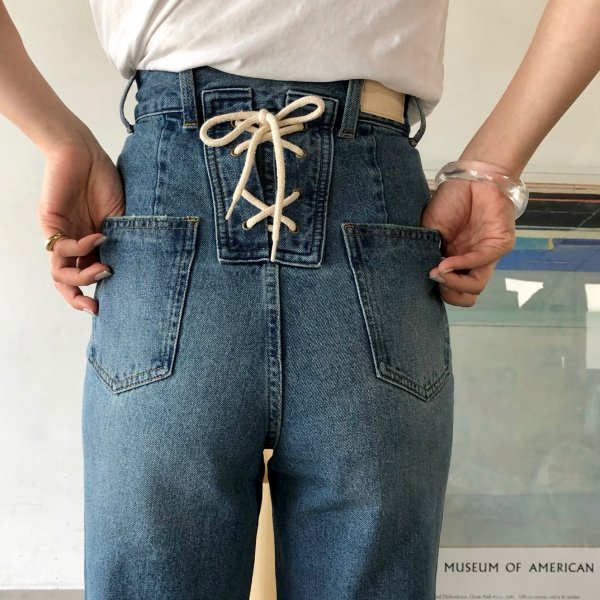 new denim bippy lace-up