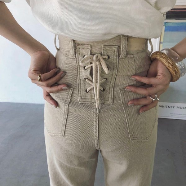 cotton bippy lace-up pants