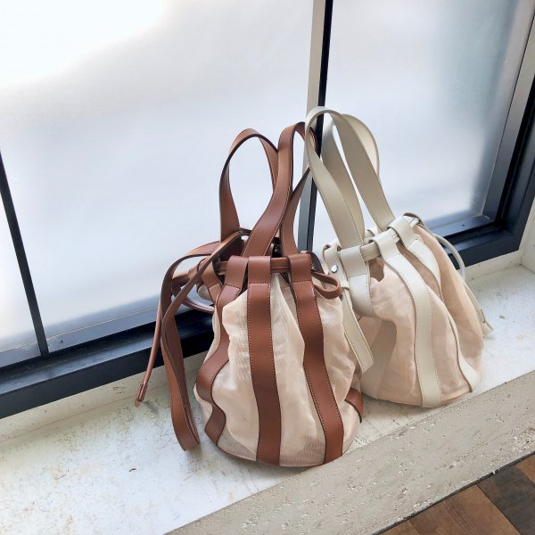 through stripe leather BAG