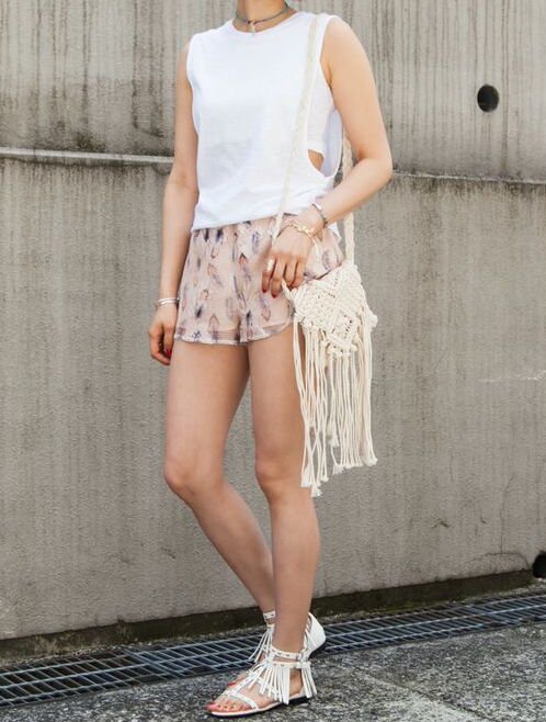 feather mesh shortpants