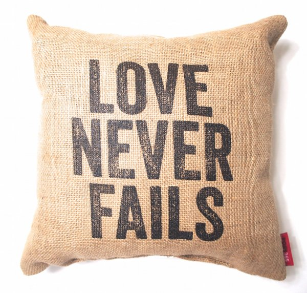 jute message cushion