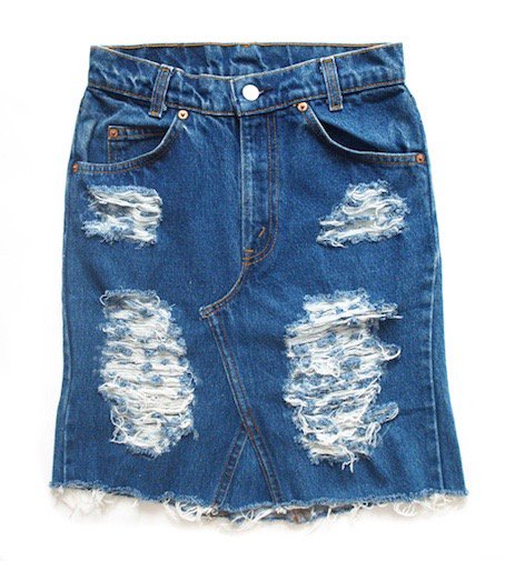 crash denim skirt (D/BL)