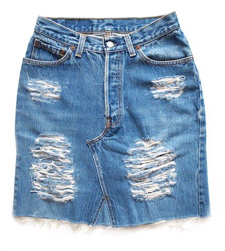 crash denim skirt (BL)