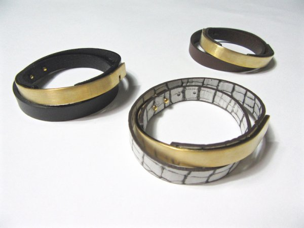 double leather bangle