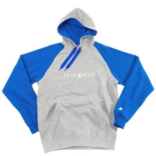 'PEAK▲HOUR' Raglan Sleeve-Pull Parka 10oz [HEATHER GRAY×ROYAL BLUE]