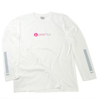<img class='new_mark_img1' src='//img.shop-pro.jp/img/new/icons22.gif' style='border:none;display:inline;margin:0px;padding:0px;width:auto;' />'peak hour - beats/neon pink' Long Sleeve T-Shirts [WHITE]