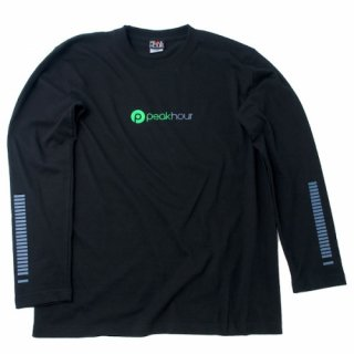 'peak hour - beats/neon green' Long Sleeve T-Shirts [BLACK]