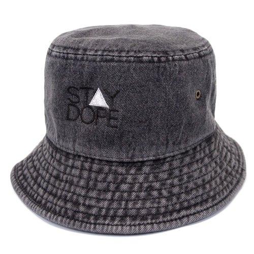 cf3229d8a1c  ST△Y DOPE  Denim BUCKET HAT  BLACK  - studio PEAK△HOUR