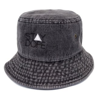 'ST▲Y DOPE' Denim BUCKET HAT [BLACK]