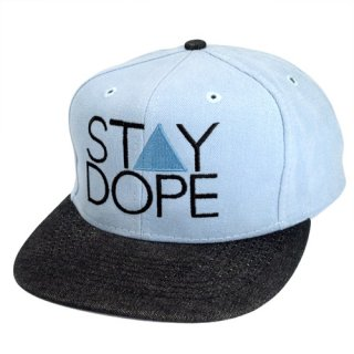 'ST▲Y DOPE' Snapback Cap [LIGHT BLUE×BLACK DENIM]