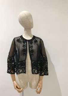 Tulle batten lace blouse