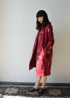 果実花刺繍 ノーカラーコート