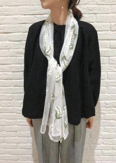 Muguet embroidery tulle shawl