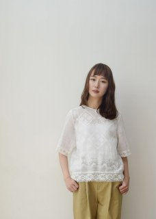 Mesh embroidery blouse