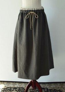 リネン紐付きギャザーロングスカート
