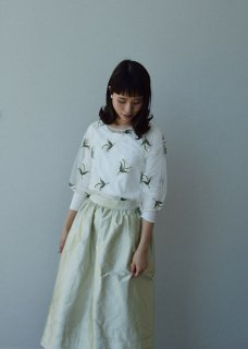 Muguet embroidery tulle blouse