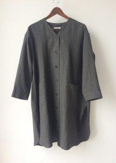麻キャンバス Vネック ロングシャツ