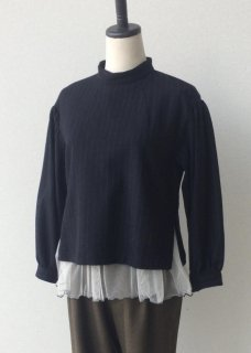 Stripe tulle frill blouse