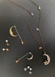 月と星とうさぎ (ピアス・イヤリング・ネックレス)