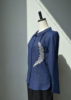 リネン ~moon刺繍~ スタンドオフカラーブラウス