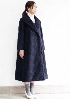 庭椿刺繍生地のショールカラーコート