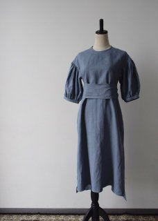 Japan linen puff sleeve dress