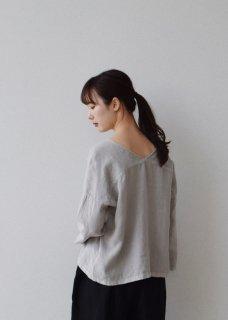 linen V neck プルオーバー
