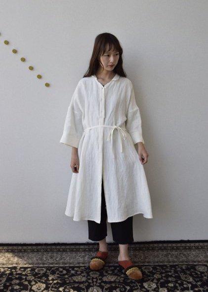 ベルギーリネン生地のワンピースドレス