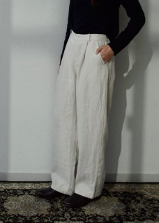 linen wide tuck pants