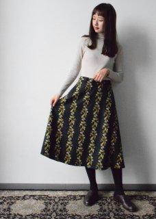 【撫菜】ナヅナ刺繍生地のフレアースカート