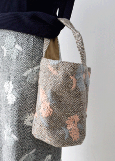 Herringbone wool embroidery bag