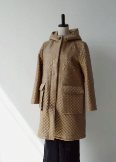 Quilt embroidery hooded coat