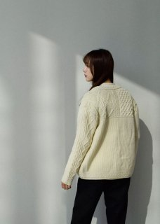ARAN PATCHWORK KNIT CARDIGAN