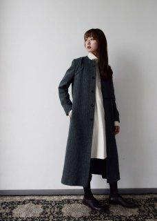 dobby  wool long coat