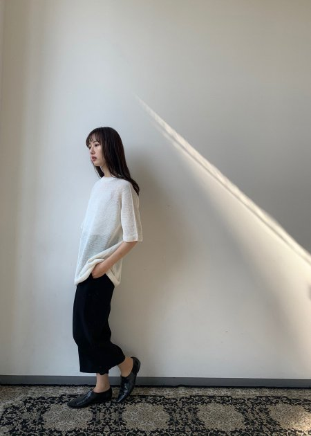 Silk linen whole garment knit T-shirt