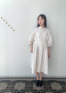 peasant dress / plants on cloud stripe