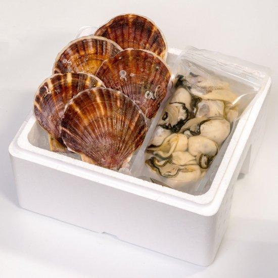 【水産物応援商品・送料無料】岩手県山田湾産 むき牡蠣 500g・帆立 5枚セット