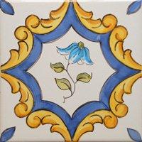 ポルトガルタイル(アズレージョ)【サントメ・STM1】青い花