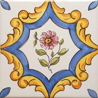 ポルトガルタイル(アズレージョ)【サントメ・STM2】紫の花