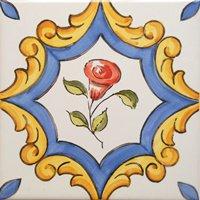 ポルトガルタイル(アズレージョ)【サントメ・STM3】赤い花