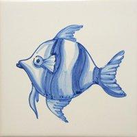 ポルトガルタイル(アズレージョ)【アニマル・ANA5】魚・青単色