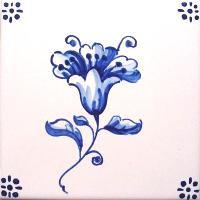 ポルトガルタイル(アズレージョ)【フロール・FLA2】花・青単色
