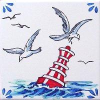 ポルトガルタイル(アズレージョ)【マリティモ・MRC5】カモメ・カラー