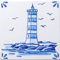 ポルトガルタイル(アズレージョ)【マリティモ・MRA3】灯台・青単色