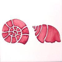 ポルトガルタイル(アズレージョ)【コンシャ・CO3】二つの巻貝・ピンク