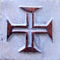 ポルトガルタイル(アズレージョ)楽スタイル【歴史・TQ-D2】キリスト騎士団(約110×110mm)