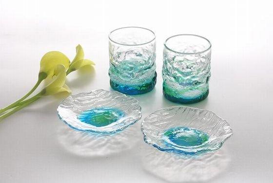 潮騒グラス&デコボコ皿2個セット