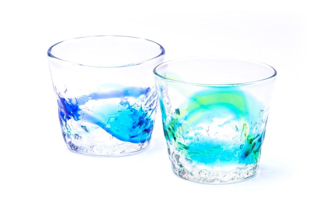 デコソバチョコ・グラス(青水×緑水)2個セット